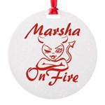 Marsha On Fire Round Ornament