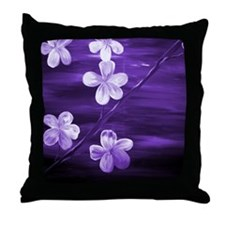 Purple Cherry Blossom Throw Pillow
