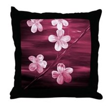 Maroon Cherry Blossom Throw Pillow