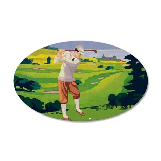 Vintage Golf Style Highlands Golfing Scene 20x12 O