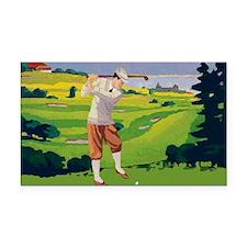 Vintage Golf Style Highlands Golfing Scene Rectang
