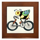Bee on a Bike Framed Tile