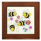 Buzzed Bees in Flowers Framed Tile