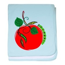 Graphic Red Apple and Green Caterpillar baby blank