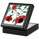 Delicate Ladybugs on Graceful Leaves Keepsake Box