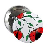 "Delicate Ladybugs on Graceful Leaves 2.25"" Button"