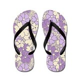 Big Lavender Floral Flip Flops