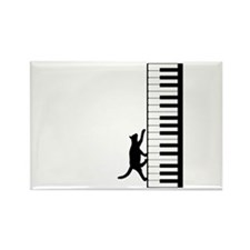 Cat and Piano v.2 Rectangle Magnet (100 pack)