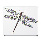 Pointilist Gem Studded Dragon Fly Mousepad
