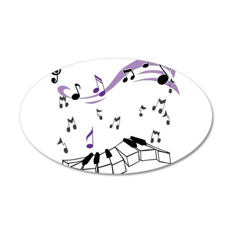 OYOOS Piano notes design 35x21 Oval Wall Decal