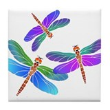 Dive Bombing Iridescent Dragonflies Tile Coaster