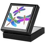 Dive Bombing Iridescent Dragonflies Keepsake Box