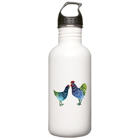 Watercolor Rooster and Hen in Blues and Greens Sta