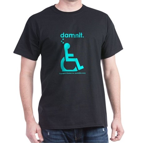 damnit.wheelchair Black/Cyan T-Shirt