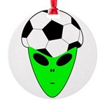 ALIEN SOCCER HEAD Round Ornament