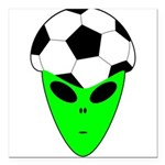 ALIEN SOCCER HEAD Square Car Magnet 3