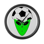 ALIEN SOCCER HEAD Large Wall Clock