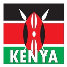 "Kenya Square Car Magnet 3"" x 3"""