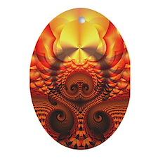 """Earth and Sky"" Fractal Art Oval Ornament"
