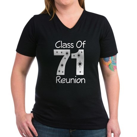 Class of 1971 Reunion Women's V-Neck Dark T-Shirt