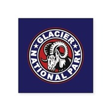 Glacier Red White & Blue Circle Square Sticker 3""