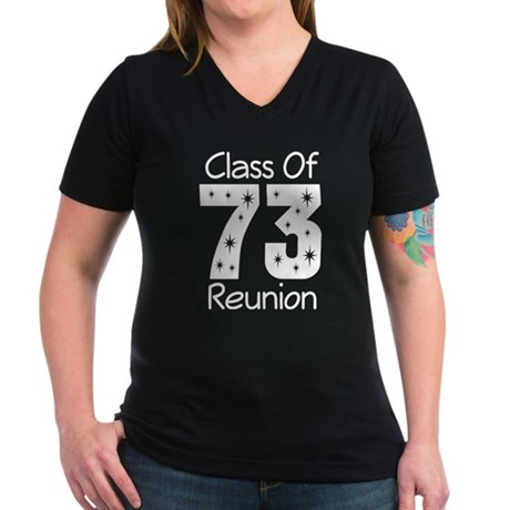 Class of 1973 Reunion Women's V-Neck Dark T-Shirt