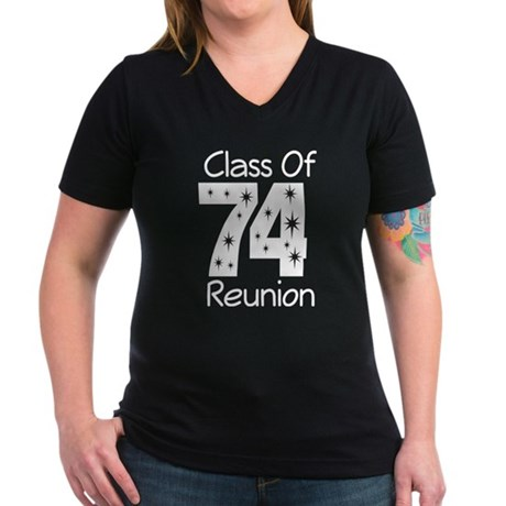 Class of 1974 Reunion Women's V-Neck Dark T-Shirt