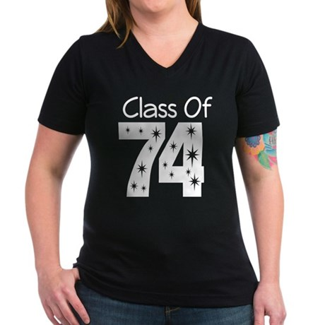 Class of 1974 Women's V-Neck Dark T-Shirt