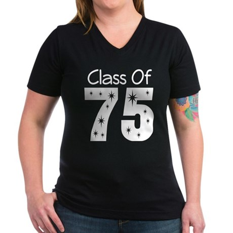 Class of 1975 Women's V-Neck Dark T-Shirt