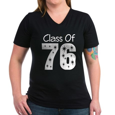 Class of 1976 Women's V-Neck Dark T-Shirt
