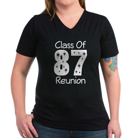 Class of 1987 Reunion Women's V-Neck Dark T-Shirt
