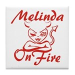 Melinda On Fire Tile Coaster