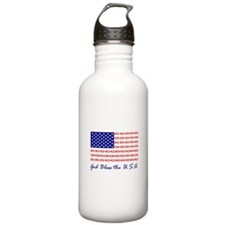 God Bless the USA Christian fish flag Water Bottle