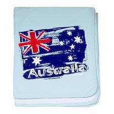 Retro grunge painted Australia flag baby blanket