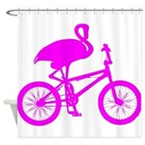 Pink flamingo on bicycle Shower Curtains