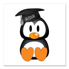 "Custom Gradution Penguin Square Car Magnet 3"" x 3"""