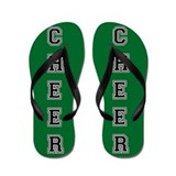 Cheer Green and Black Flip Flops
