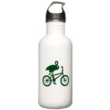 Dark Green Flamingo on Bicycle Water Bottle