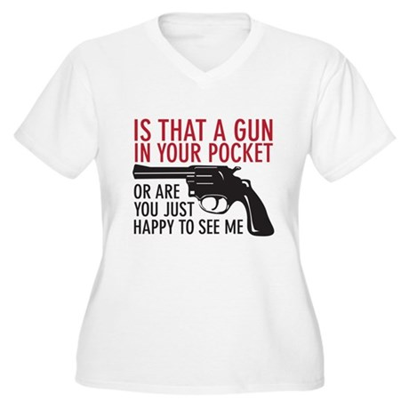 gun in your pocket Women's Plus Size V-Neck T-Shir