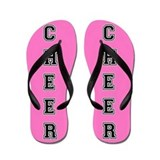 Cheerleader Pink and Black Flip Flops