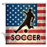 Grunge USA Soccer Shower Curtain