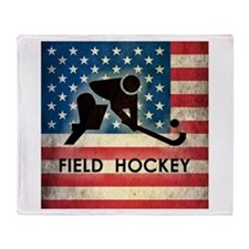 Grunge USA Field Hockey Throw Blanket