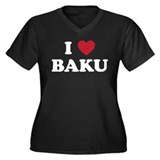 I Love Baku Women's Plus Size V-Neck Dark T-Shirt
