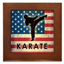 Grunge USA Karate Framed Tile