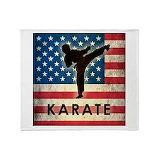 Grunge USA Karate Throw Blanket