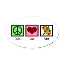 Peace Love Painting Oval Car Magnet