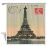 Vintage Paris Eiffel Tower Postcard Shower Curtain