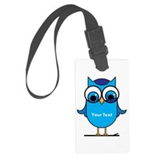 Custom Blue Owl Branch Luggage Tag