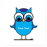 Custom Blue Owl Branch 5.25 x 5.25 Flat Cards