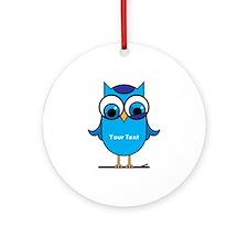 Custom Blue Owl Branch Ornament (Round)